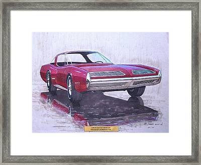 1967 Barracuda  Plymouth Vintage Styling Design Concept Rendering Sketch Framed Print by John Samsen
