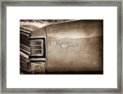 1967 Chevrolet Chevelle Ss Super Sport Taillight Emblem Framed Print by Jill Reger
