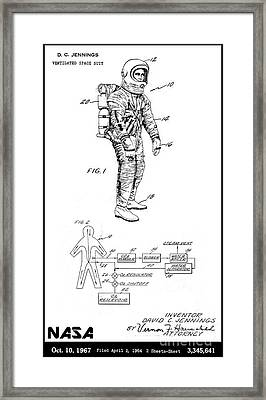 1967 Nasa Astronaut Ventilated Space Suit Patent Art 3 Framed Print by Nishanth Gopinathan
