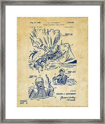 1968 Bulletproof Patent Artwork Figure 18 Vintage Framed Print by Nikki Marie Smith