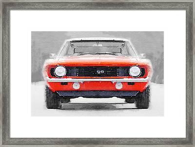 1968 Chevy Camaro Ss Watercolor Framed Print by Naxart Studio