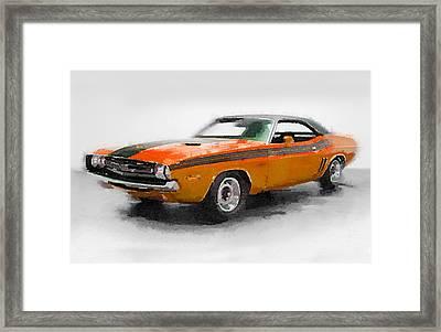 1968 Dodge Challenger Watercolor Framed Print by Naxart Studio