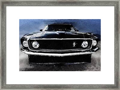 1968 Ford Mustang Shelby Front Watercolor Framed Print by Naxart Studio