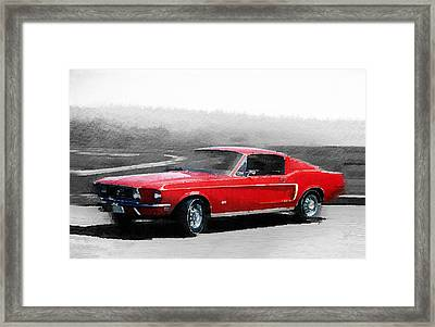 1968 Ford Mustang Watercolor Framed Print by Naxart Studio