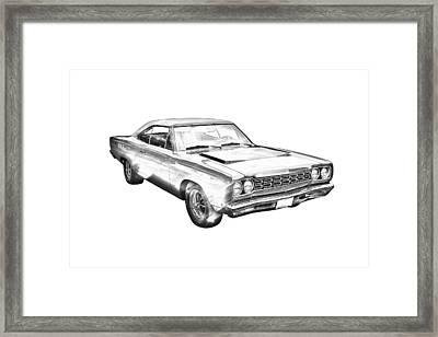 1968 Plymouth Roadrunner Muscle Car Illustration Framed Print by Keith Webber Jr