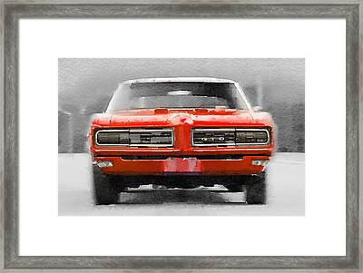 1968 Pontiac Gto Front Watercolor Framed Print by Naxart Studio