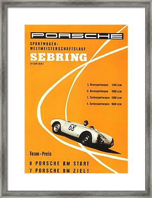 1968 Porsche Sebring Florida Poster Framed Print by Georgia Fowler