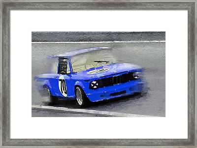 1969 Bmw 2002 Racing Watercolor Framed Print by Naxart Studio