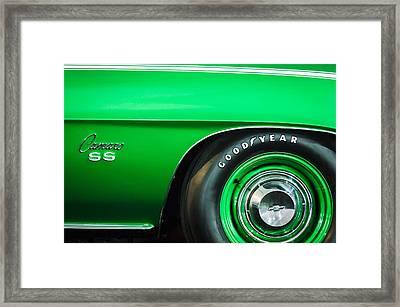 1969 Chevrolet Camaro 396 Rs Ss L89 Side Emblem Framed Print by Jill Reger