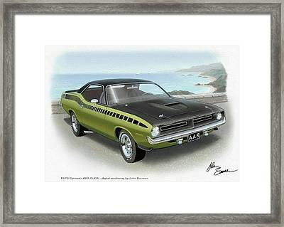 1970 Barracuda Aar Cuda Muscle Car Sketch Rendering Framed Print by John Samsen