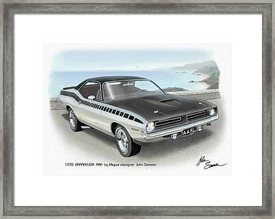 1970 Barracuda Aar Cuda Plymouth Muscle Car Sketch Rendering Framed Print by John Samsen
