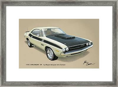 1970 Challenger T-a Dodge Muscle Car Classic Framed Print by John Samsen