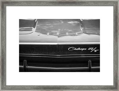 1970 Dodge Challenger Rt Convertible Grille Emblem -0545bw Framed Print by Jill Reger
