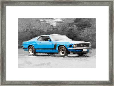 1970 Ford Mustang Boss Blue Watercolor Framed Print by Naxart Studio