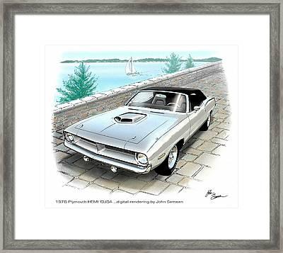 1970 Hemi Cuda Plymouth Muscle Car Sketch Rendering Framed Print by John Samsen
