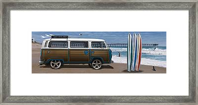 1970 Vw Bus Woody Framed Print by Mike McGlothlen