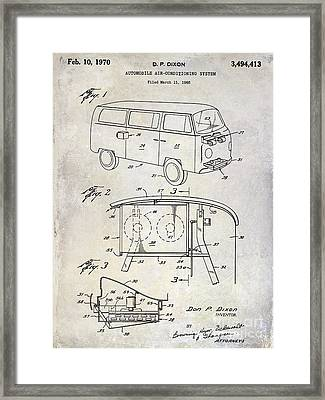 1970 Vw Patent Drawing Framed Print by Jon Neidert