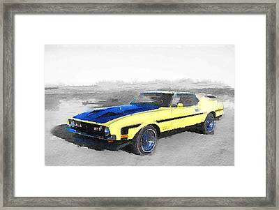 1971 Ford Mustang Boss Watercolor Framed Print by Naxart Studio