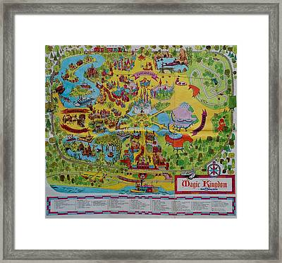 1971 Original Map Of The Magic Kingdom Framed Print by Rob Hans