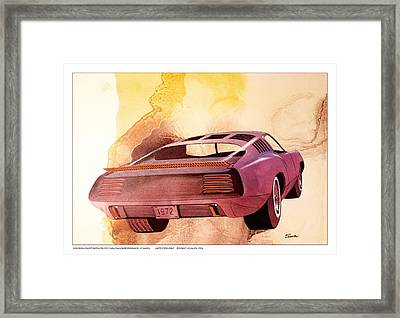 1972 Barracuda  B Cuda  Plymouth Vintage Styling Design Concept Rendering Framed Print by John Samsen