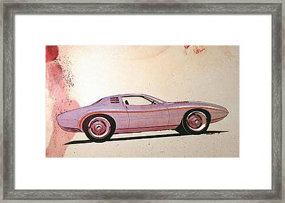 1972 Barracuda  J Cuda Vintage Styling Design Concept Sketch Framed Print by John Samsen