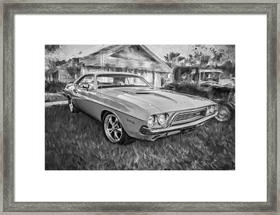 1972 Dodge 340 Challenger Painted Bw   Framed Print by Rich Franco