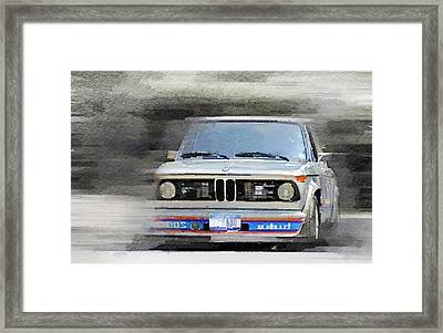 1974 Bmw 2002 Turbo Watercolor Framed Print by Naxart Studio