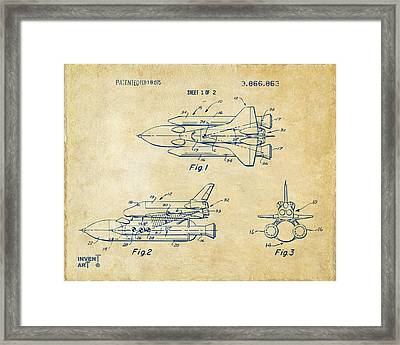 1975 Space Shuttle Patent - Vintage Framed Print by Nikki Marie Smith
