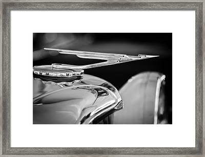 1984 Duesenberg Sj - Twenty Grand - Tribute Hood Ornament -1652bw Framed Print by Jill Reger