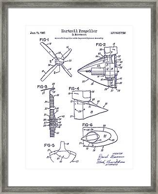 1985 Propeller Patent Blueprint Framed Print by Jon Neidert