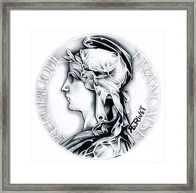 1896 French Indochine Silver Medal Of Honor - Original Framed Print by Fred Larucci