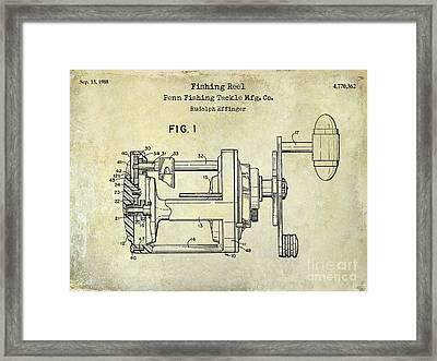 1988 Penn Fishing Reel Patent Drawing Framed Print by Jon Neidert