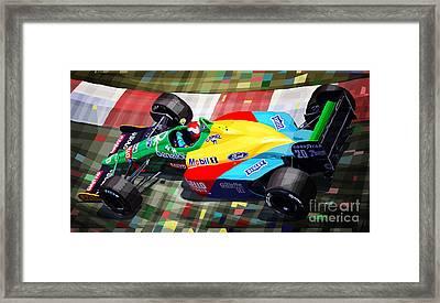 1989 Monaco Benettonb188 Ford Cosworth J Herbert Framed Print by Yuriy Shevchuk