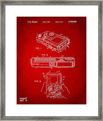 1993 Nintendo Game Boy Patent Artwork Red Framed Print by Nikki Marie Smith