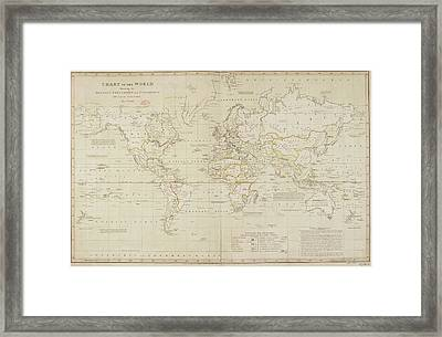 19th Century Demographic Map Of The World Framed Print by British Library