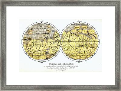 19th Century Map Of Mars Framed Print by Detlev Van Ravenswaay
