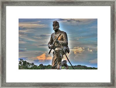1st Pa Cavalry Regiment Cemetery Ridge Near The Copse Of Trees Evening 3rd Day Of Battle Gettysburg Framed Print by Michael Mazaika