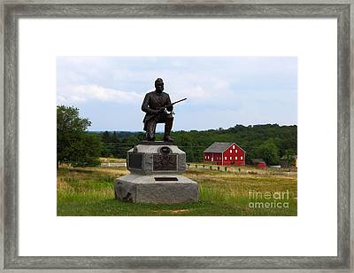 1st Pennsylvania Cavalry Defending Cemetery Ridge Framed Print by James Brunker
