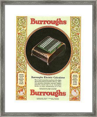 1920s Usa Equipment Burroughs Adding Framed Print by The Advertising Archives