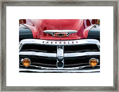1955 Chevrolet 3100 Pickup Truck Grille Emblem Framed Print by Jill Reger