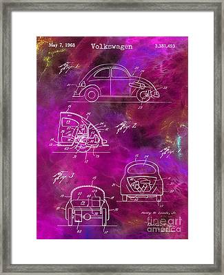 1968 Vw Patent Drawing Framed Print by Jon Neidert