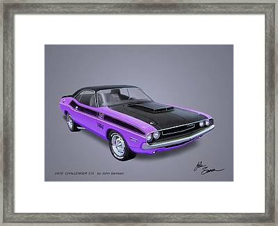 1970 Challenger T-a  Muscle Car Sketch Rendering Framed Print by John Samsen