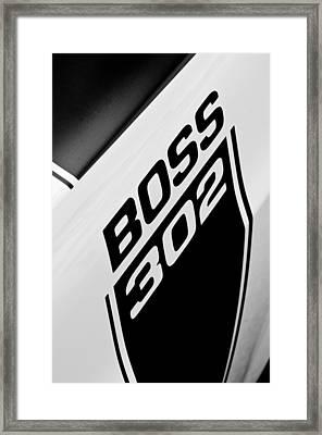 1970 Ford Mustang Boss 302 Emblem Framed Print by Jill Reger