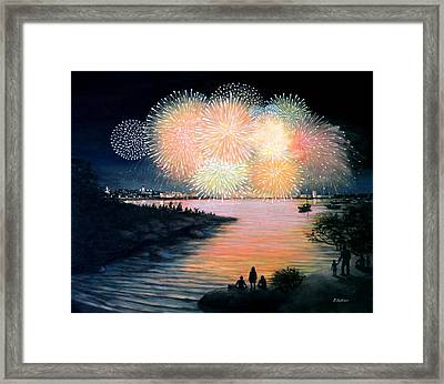 4th Of July Gloucester Harbor Framed Print by Eileen Patten Oliver