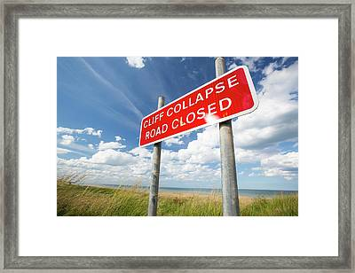 A Collapsed Coastal Road At Easington Framed Print by Ashley Cooper