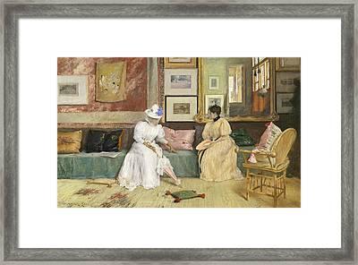 A Friendly Call Framed Print by William Merritt Chase