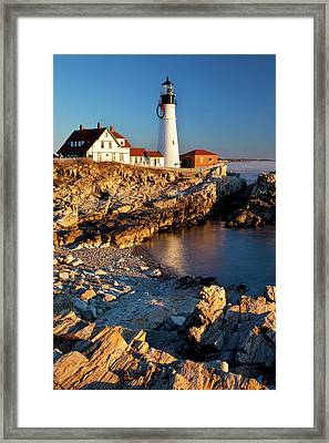 A Winter Dawn At Portland Head Framed Print by Brian Jannsen