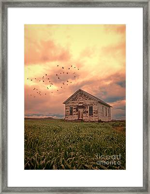 Abandoned Building In A Storm Framed Print by Jill Battaglia