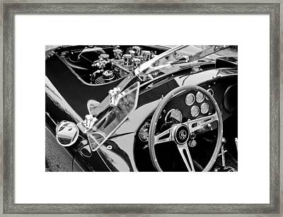 Ac Shelby Cobra Engine - Steering Wheel Framed Print by Jill Reger
