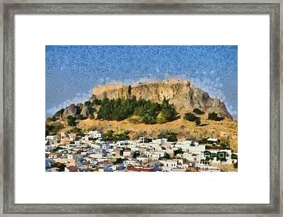 Acropolis And Village Of Lindos Framed Print by George Atsametakis
